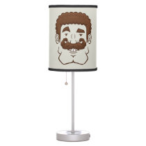 Strongstache (Curly Brown Hair) Table Lamp