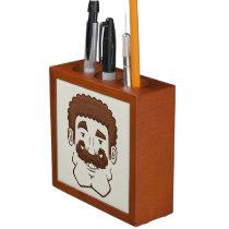 Strongstache (Curly Brown Hair) Desk Organizer