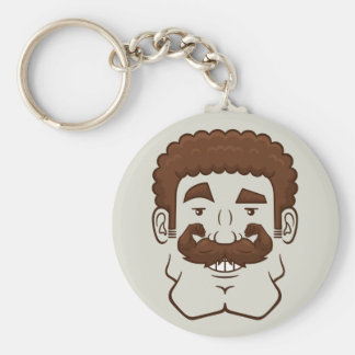 Strongstache (Curly Brown Hair) Key Chain