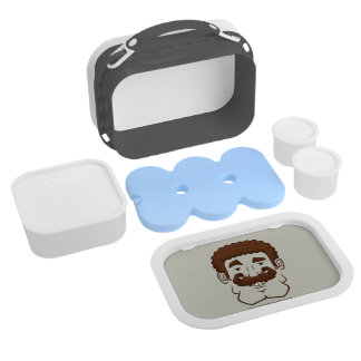 Strongstache (Curly Brown Hair) Yubo Lunch Boxes