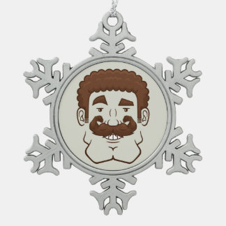 Strongstache (Curly Brown Hair) Ornament