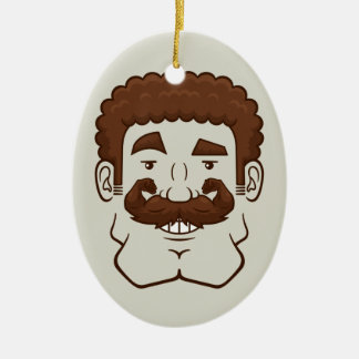Strongstache (Curly Brown Hair) Christmas Ornament