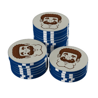 Strongstache Curly Brown Hair Set Of Poker Chips