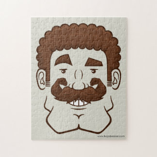 Strongstache (Curly Brown Hair) Puzzles