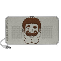 Strongstache (Curly Brown Hair) Doodle Speaker