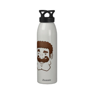 Strongstache (Curly Brown Hair) Reusable Water Bottle