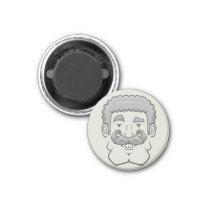 Strongstache (Curly Gray Hair) Magnet