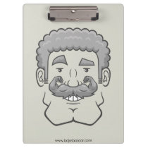 Strongstache (Curly Gray Hair) Clipboard