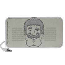 Strongstache (Curly Gray Hair) Doodle Speaker