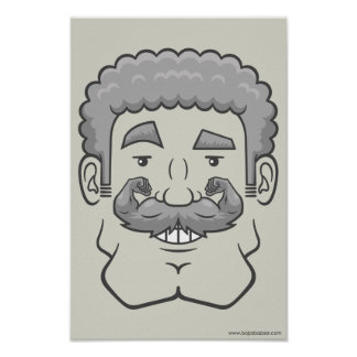 Strongstache (Curly Gray Hair) Print