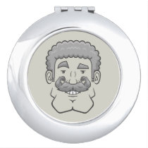 Strongstache (Curly Gray Hair) Compact Mirror