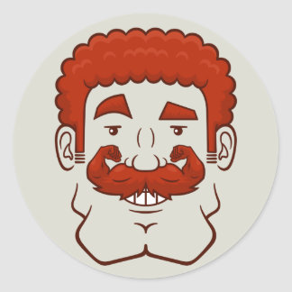 Strongstache (Curly Red Hair) Classic Round Sticker