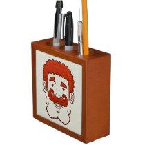 Strongstache (Curly Red Hair) Desk Organizer