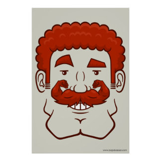 Strongstache (Curly Red Hair) Posters