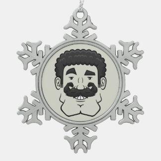 Strongstache (pelo negro rizado) adorno de peltre en forma de copo de nieve