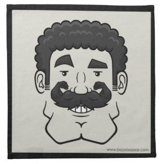 Strongstache pelo negro rizado servilleta imprimida