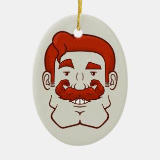 Strongstache (pelo rojo recto) adorno navideño ovalado de cerámica