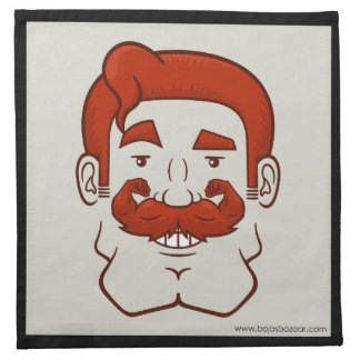 Strongstache pelo rojo recto servilleta imprimida