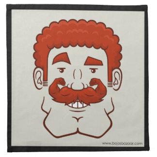Strongstache pelo rojo rizado servilletas de papel