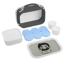 Strongstache (Straight Black Hair) Lunch Box