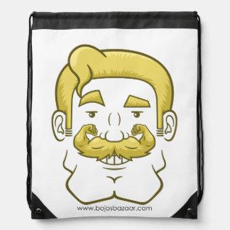 Strongstache (Straight Blond Hair) Drawstring Bag