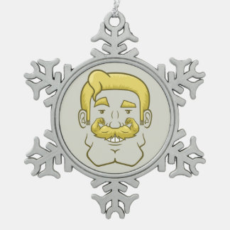 Strongstache (Straight Blond Hair) Snowflake Pewter Christmas Ornament