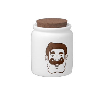 Strongstache (Straight Brown Hair) Candy Dish
