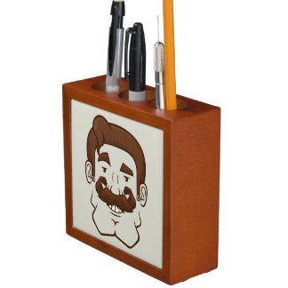 Strongstache (Straight Brown Hair) Pencil/Pen Holder