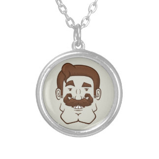 Strongstache (Straight Brown Hair) Personalized Necklace
