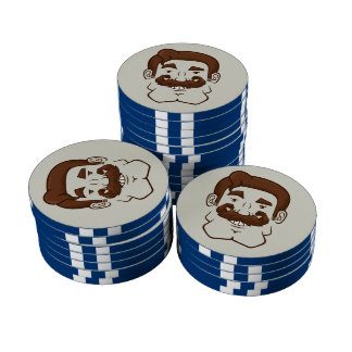 Strongstache Straight Brown Hair Poker Chips Set