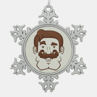 Strongstache (Straight Brown Hair) Snowflake Pewter Christmas Ornament