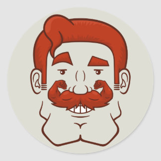Strongstache (Straight Red Hair) Classic Round Sticker
