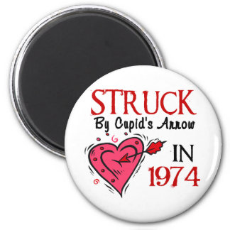 Struck With Cupid's Arrow In 1974 Fridge Magnets