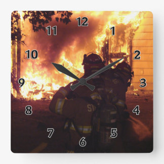 Structure Fire Square Wall Clocks