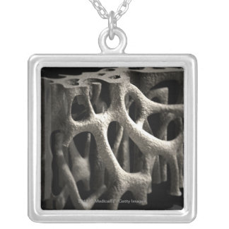 Structure of a bone with osteoporosis square pendant necklace