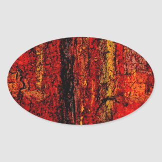 Structure Red African Abstract Oval Sticker