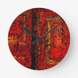 Structure Red African Abstract Round Clock