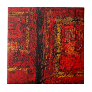 Structure Red African Abstract Tile