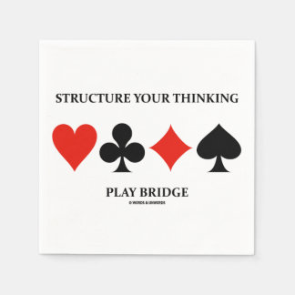 Structure Your Thinking Play Bridge (Card Suits) Standard Cocktail Napkin