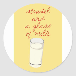 Strudel And A Glass Of Milk Classic Round Sticker