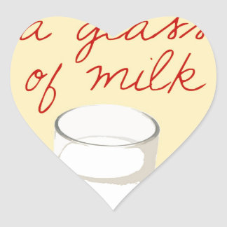 Strudel And A Glass Of Milk Heart Sticker