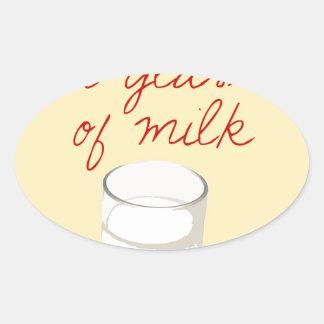 Strudel And A Glass Of Milk Oval Sticker