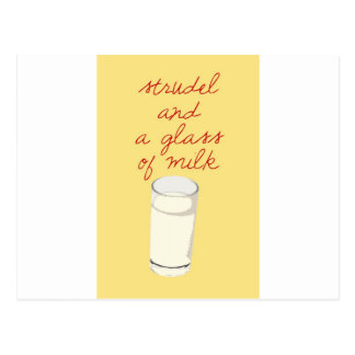 Strudel And A Glass Of Milk Postcard