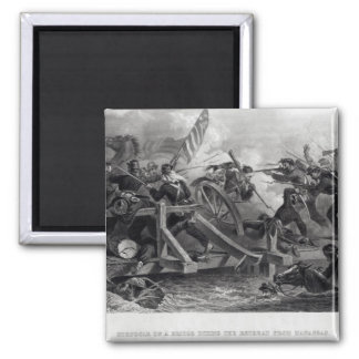 Struggle on a Bridge During the Retreat 2 Inch Square Magnet