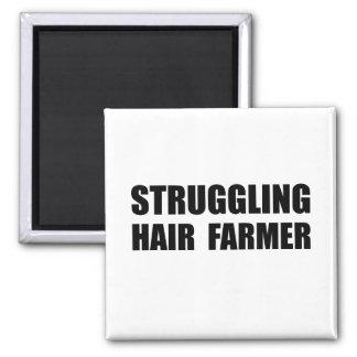Struggling Hair Farmer 2 Inch Square Magnet