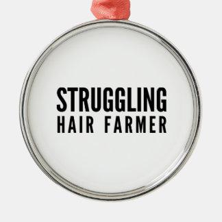 Struggling Hair Farmer Metal Ornament