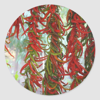 Strung and Hanging Red and Green Chili Peppers Classic Round Sticker