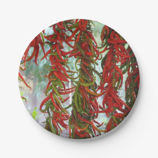 Strung and Hanging Red and Green Chili Peppers Paper Plate