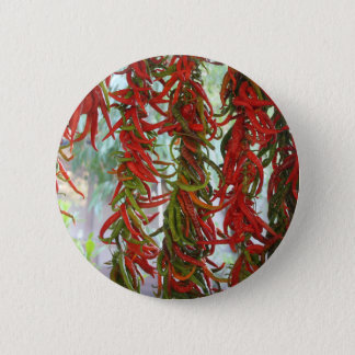 Strung and Hanging Red and Green Chili Peppers Pinback Button