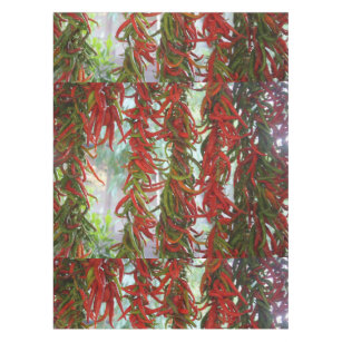 Strung And Hanging Red And Green Chili Peppers Tablecloth